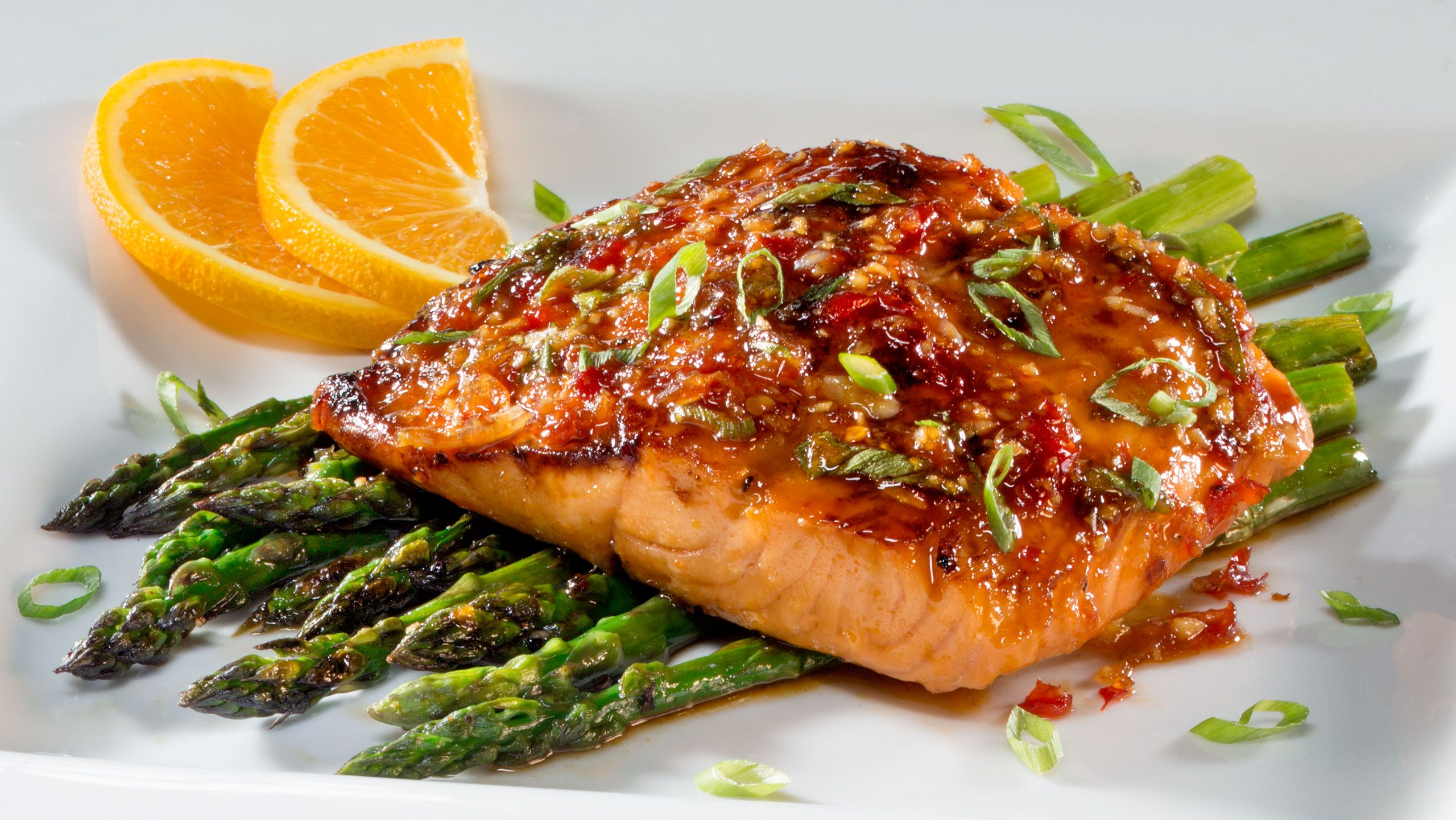 Ford's Garage Garlic Salmon with Asparagus by Florida commercial food photographer