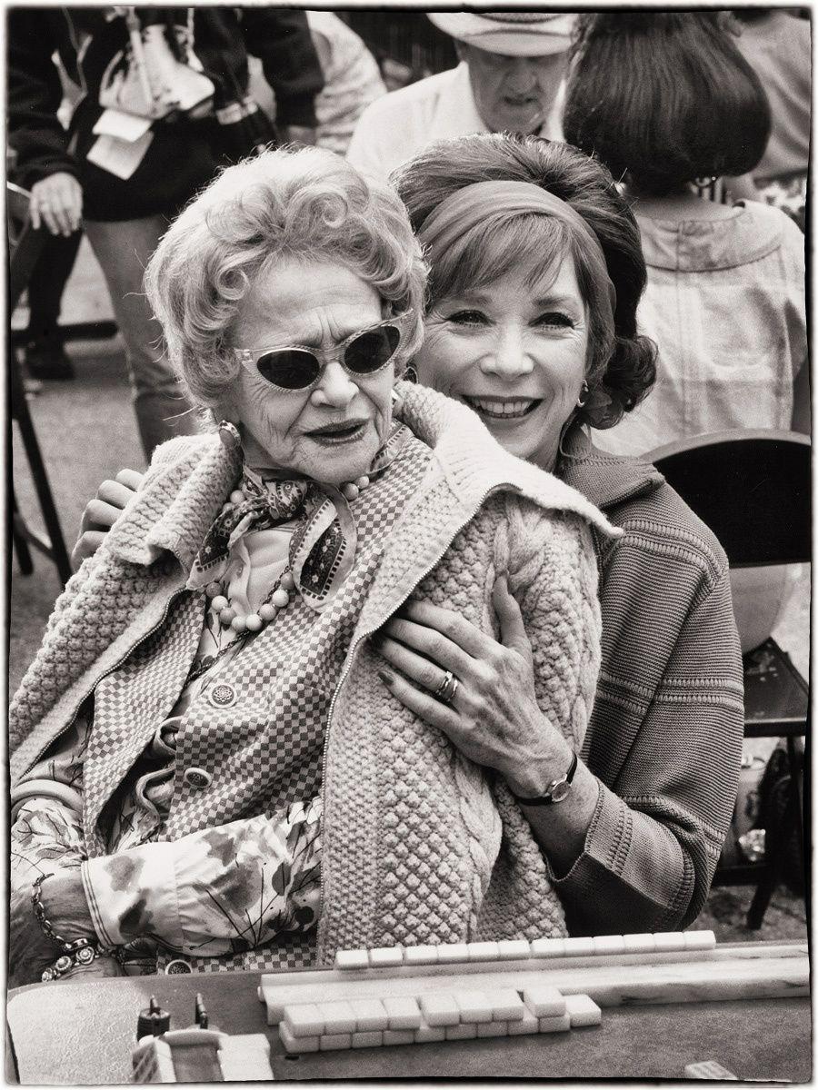 Sylvia Sidney & Shirley MacLaine having fun on set