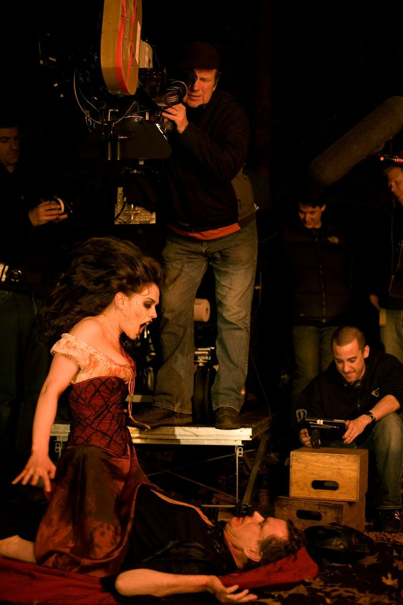 Anna Paquin with direcrtor writer Michael Dougherty looking on