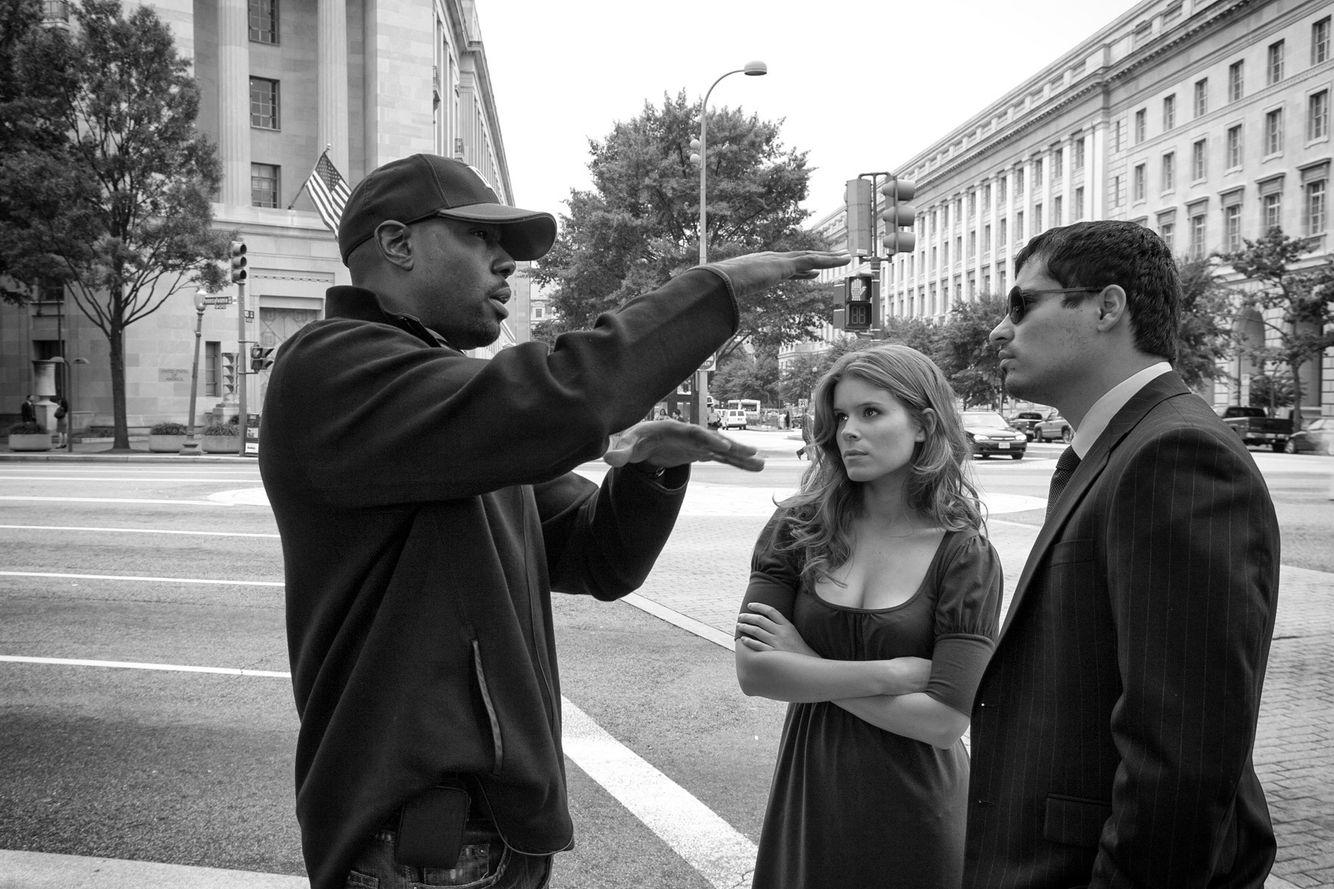 Director Antoine Fuqua with Michael Peña & Kate Mara