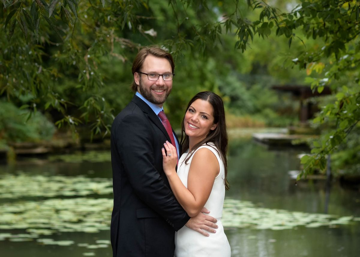 engagement by the pond