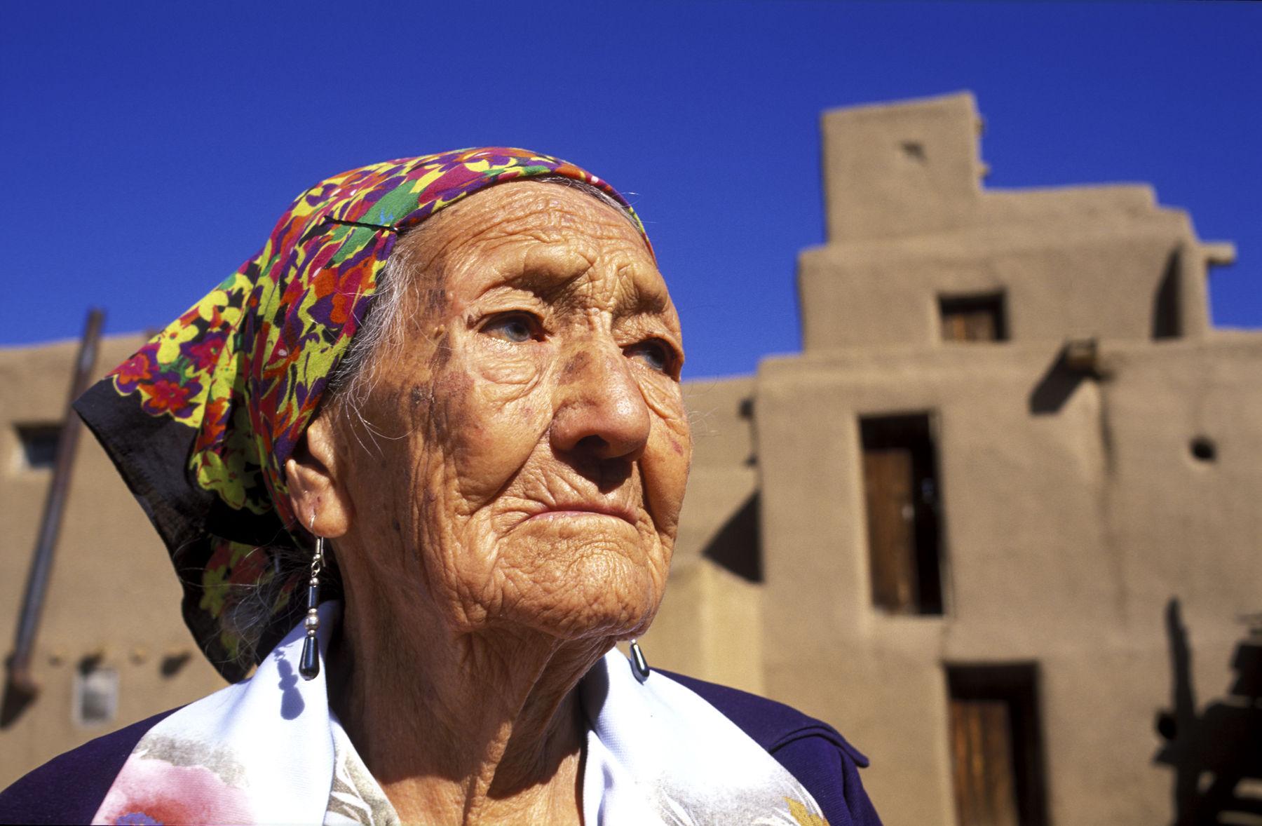 Taos Pueblo. Elder Native American woman