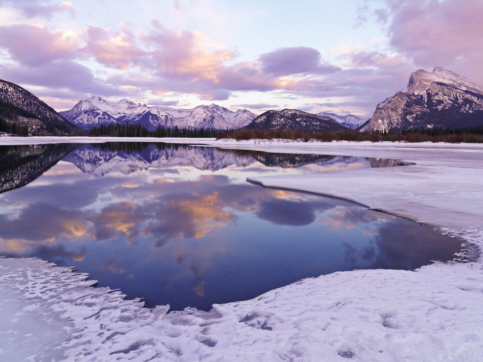Banff National Park Vermilion Lakes in winter with Mount Rundle