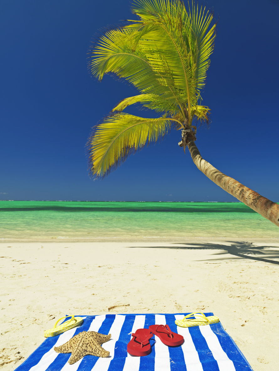 beach blanket, flip flops  at beach with beach and palm tree