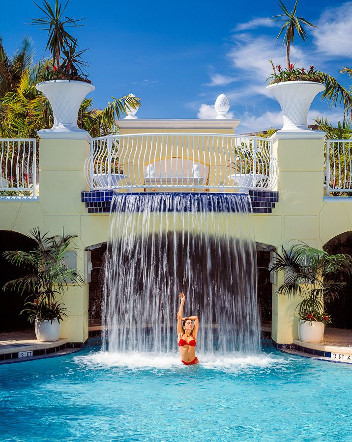 sheraton resort waterfall red bathingsuit.jpg