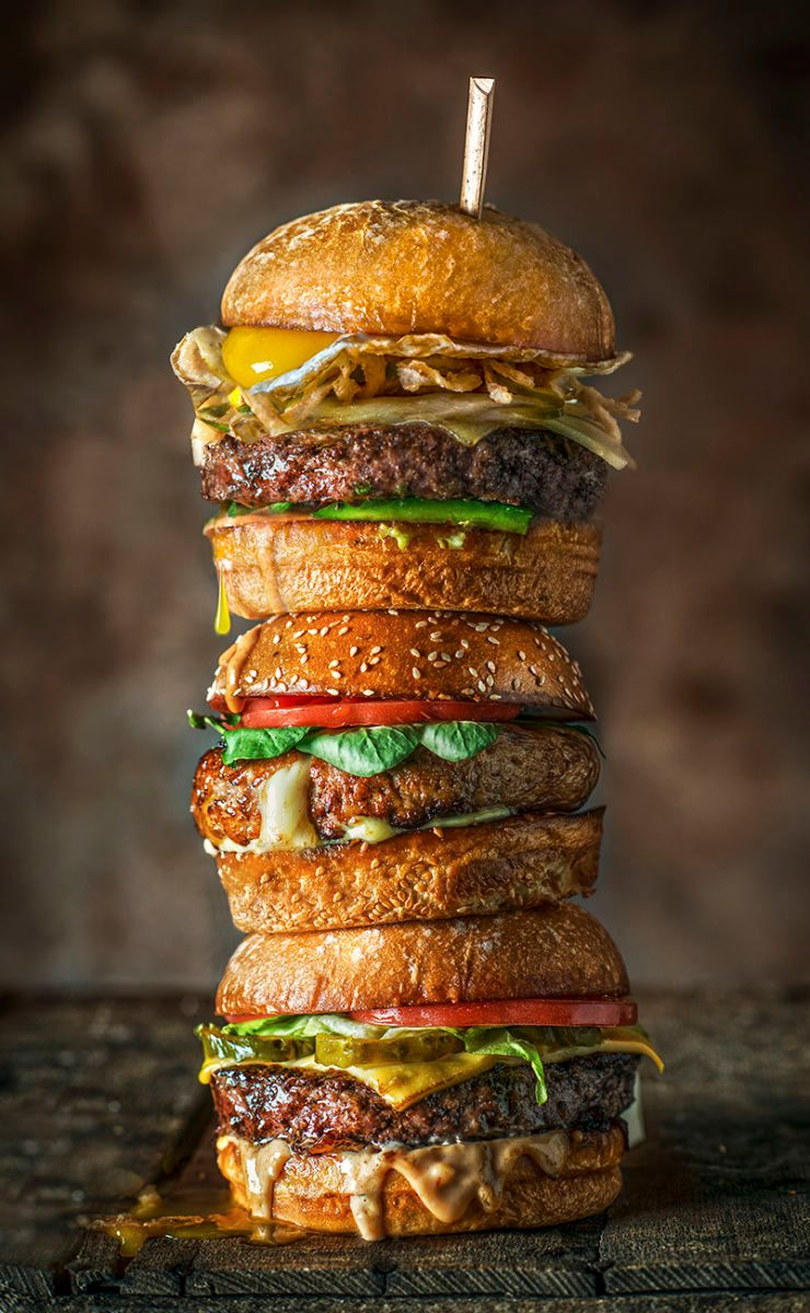Triple Stack of Burgers