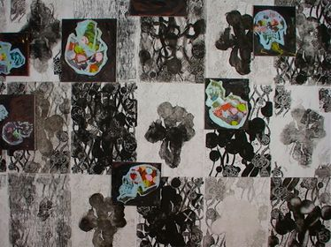 closse up of skull paintings on wallpaper, 2005