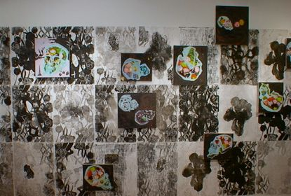 skull oil paintings installed over printed wallpaper, 2005