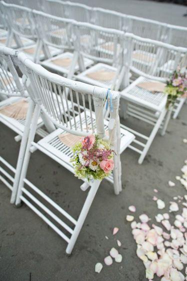 White folding wedding chairs