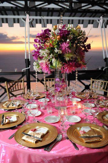 fuschia table setting