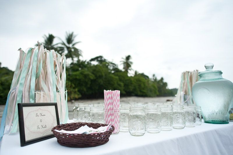 Beach Wedding Ceromony Refreshement Table