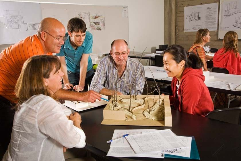 Five adults in architectural landscape class discuss models