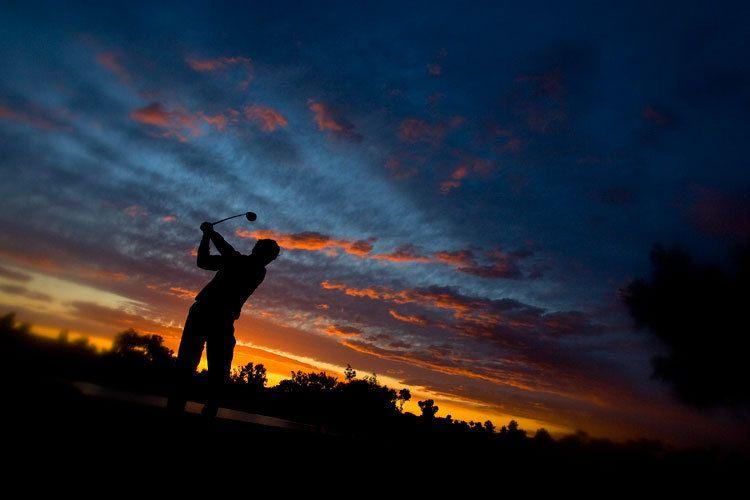 Arizona Sunset Golf Silhouette