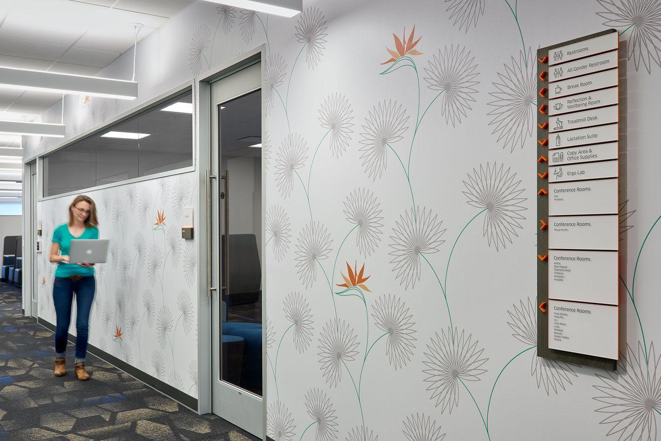 hallway graphics and flower wallpaper