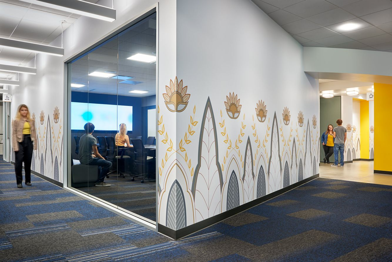 conference room and hallway graphics