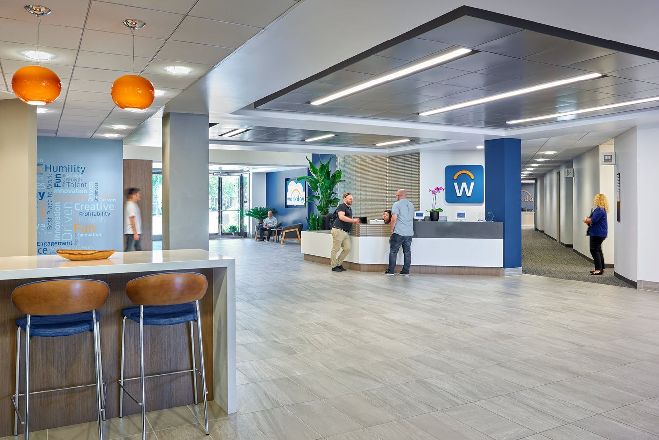 workday building lobby with reception desk