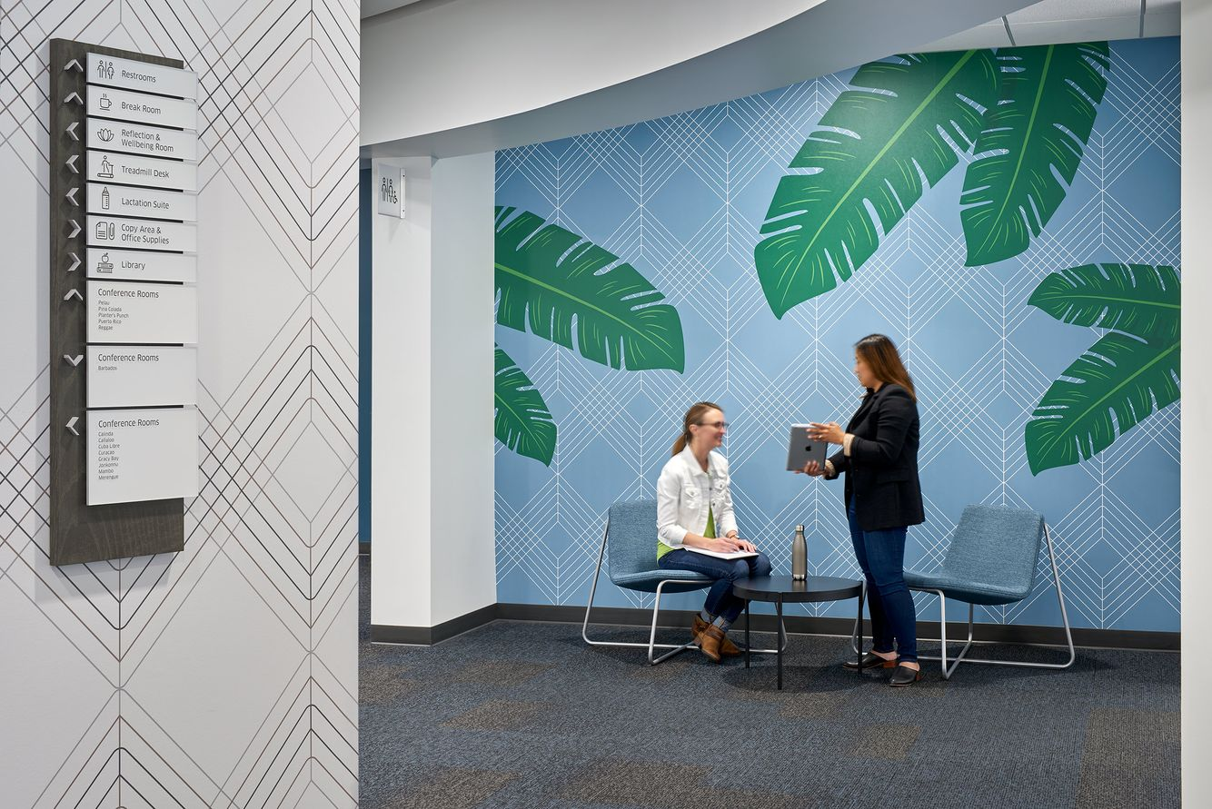meeting with environmental graphics and signage