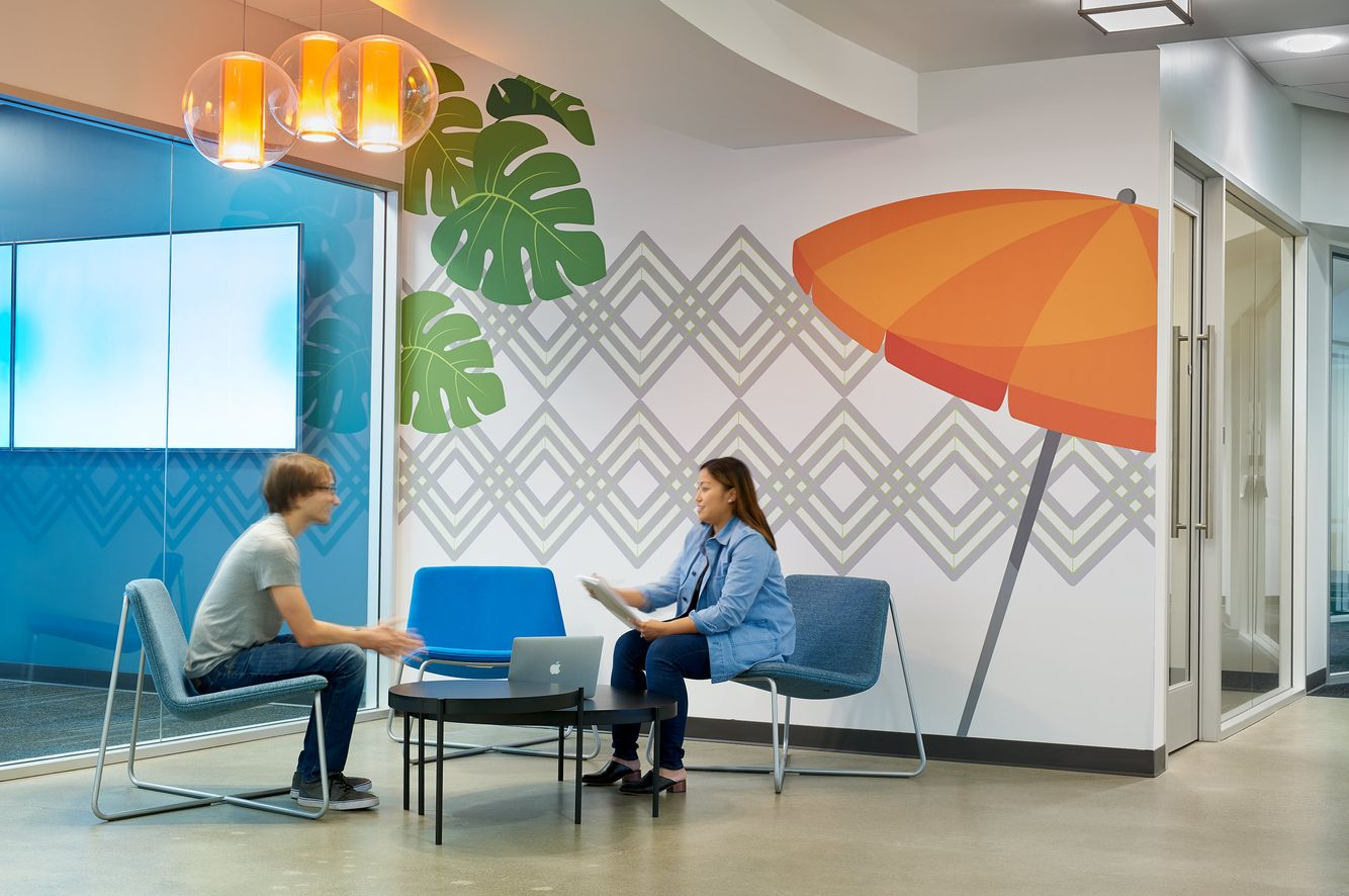 meeting collaboration space with environmental graphics