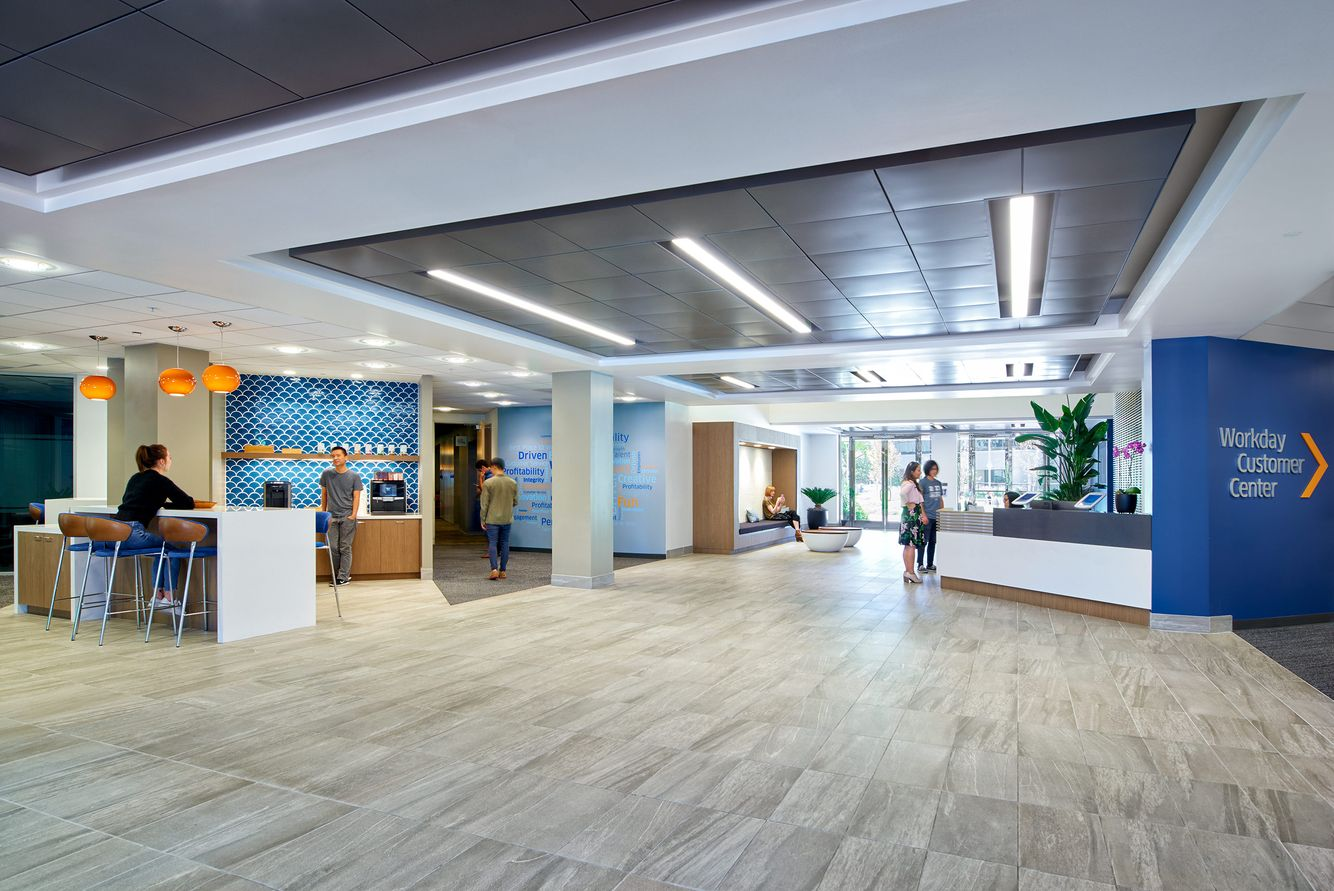 building lobby at Workday with reception