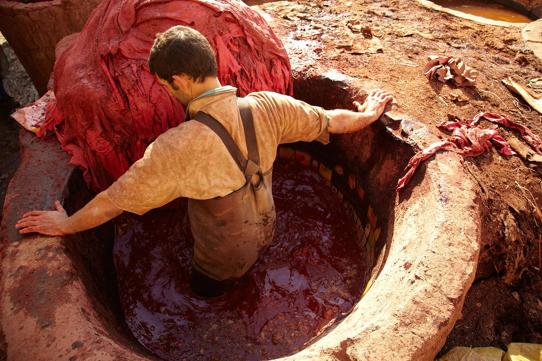 A worker at a tannery in Fez, Morocco