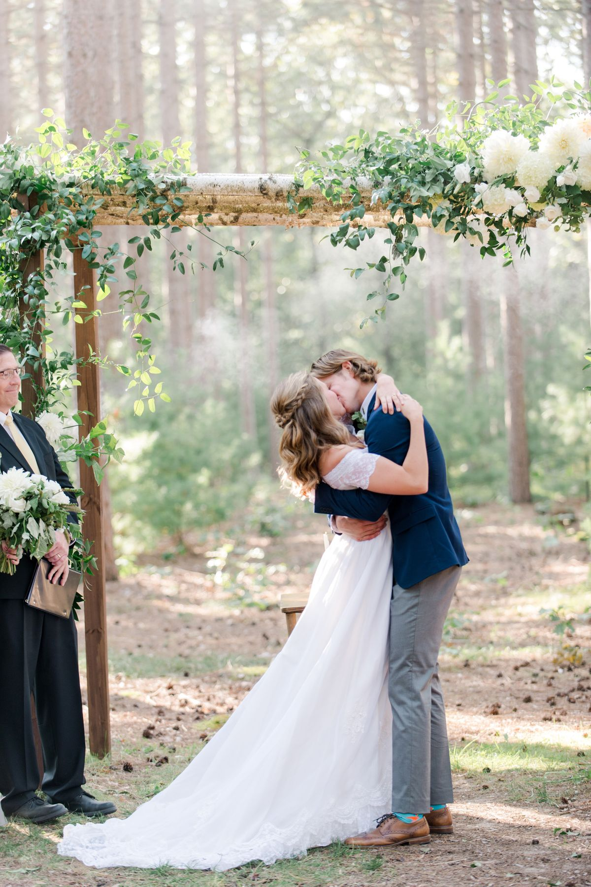 Bride and Groom Kissing Outdoors - CampBride