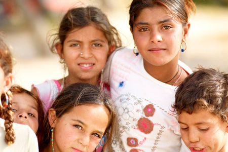 Roma children Kavouri Beach Greece