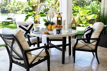 Aluminum and tile patio set
