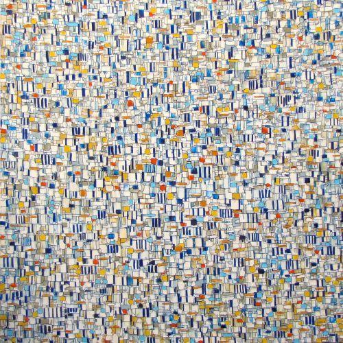 """Cabana Blue, 60x60"""" oil on canvas, 2016"""