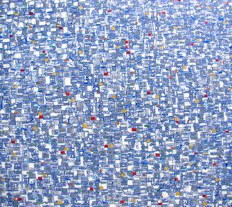 "Gradient Blue, 60x60"" oil on canvas, 2018"