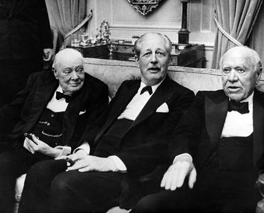 Sir Winston Churchill, Prime Minister Harold McMillan, Lord Beaverbrook, London 1961