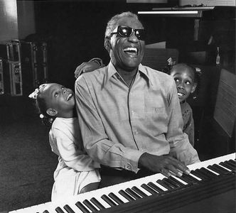 Ray Charles and his grandchildren, Los Angeles, 1991