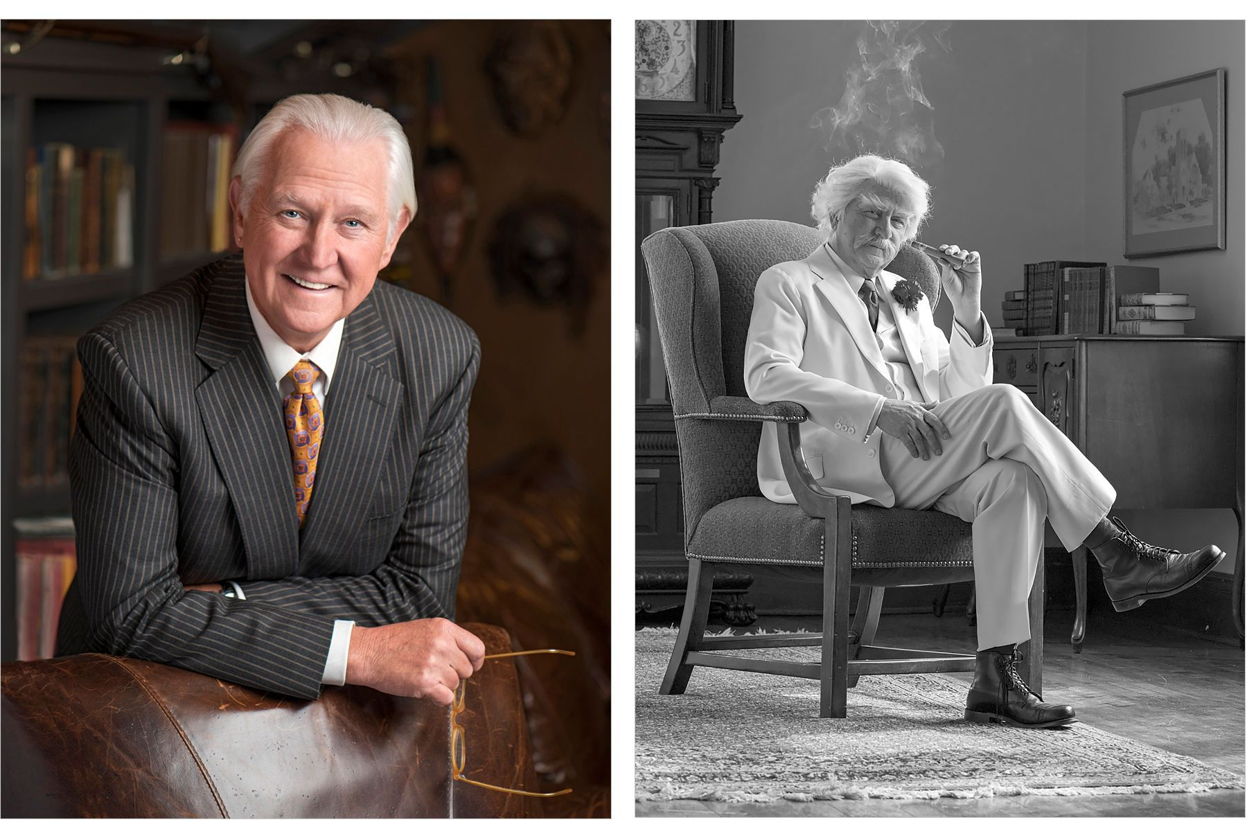 Don Shelby as himself and as Mark Twain.