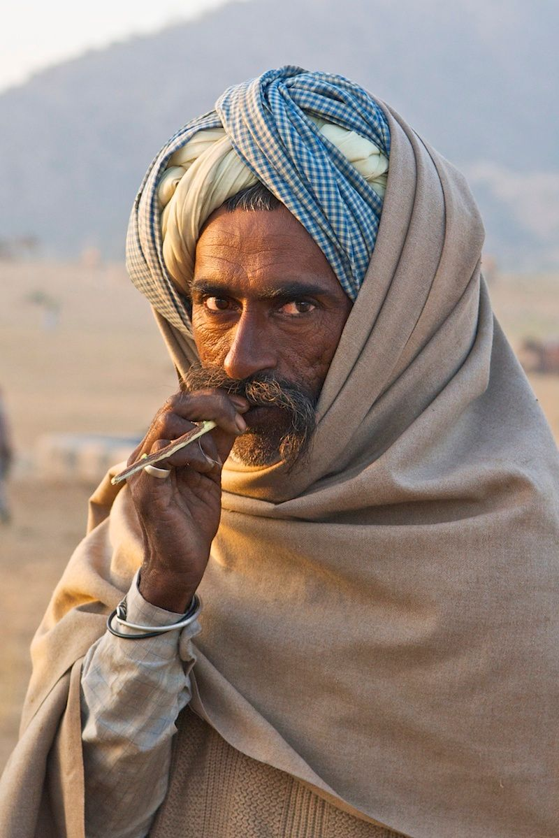 Camel herder at dawn, Pushkar
