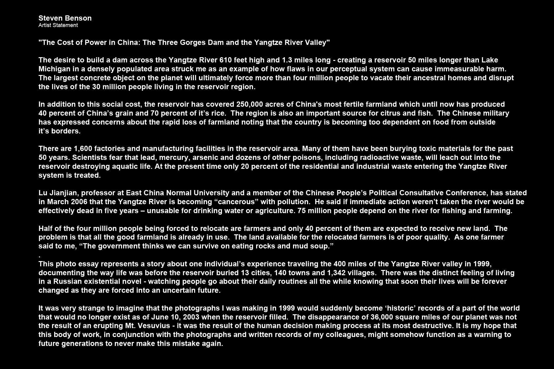 Steven Benson, Artist StatementThree Gorges Dam