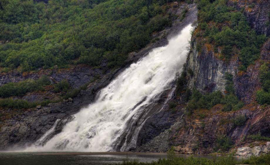 Waterfall near the Mendenhall Glacier in Juneau, Alaska