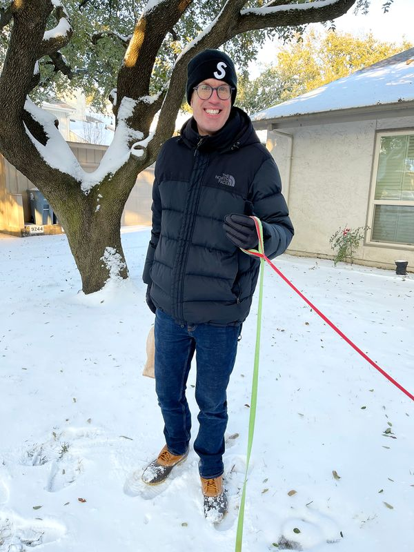 Nate in the rare Texas snow