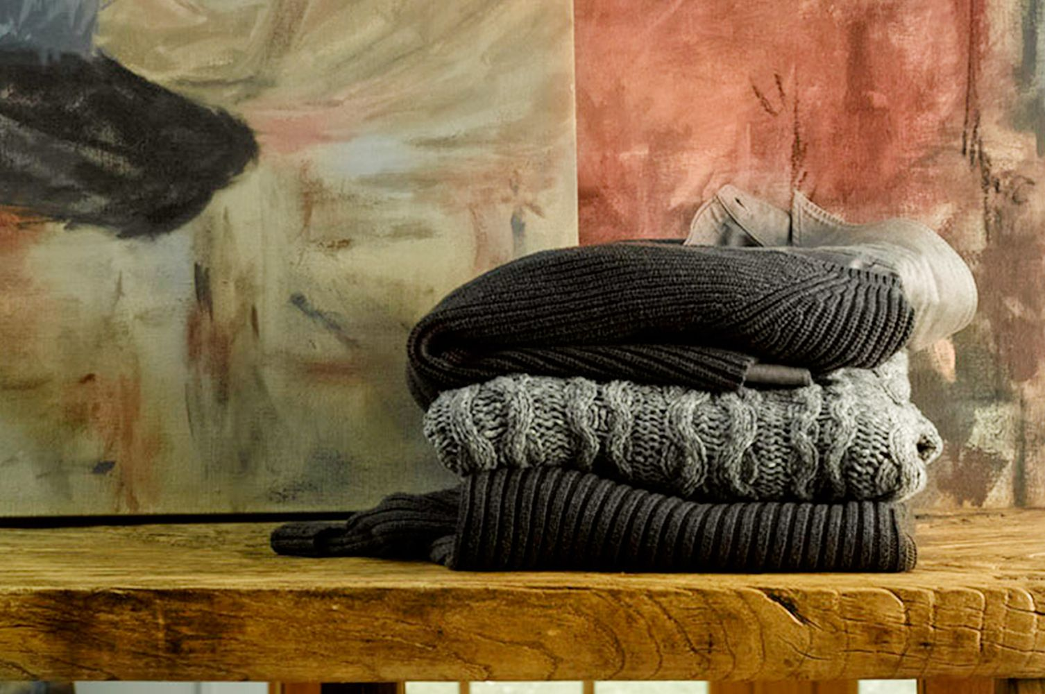 Textures sweater stack