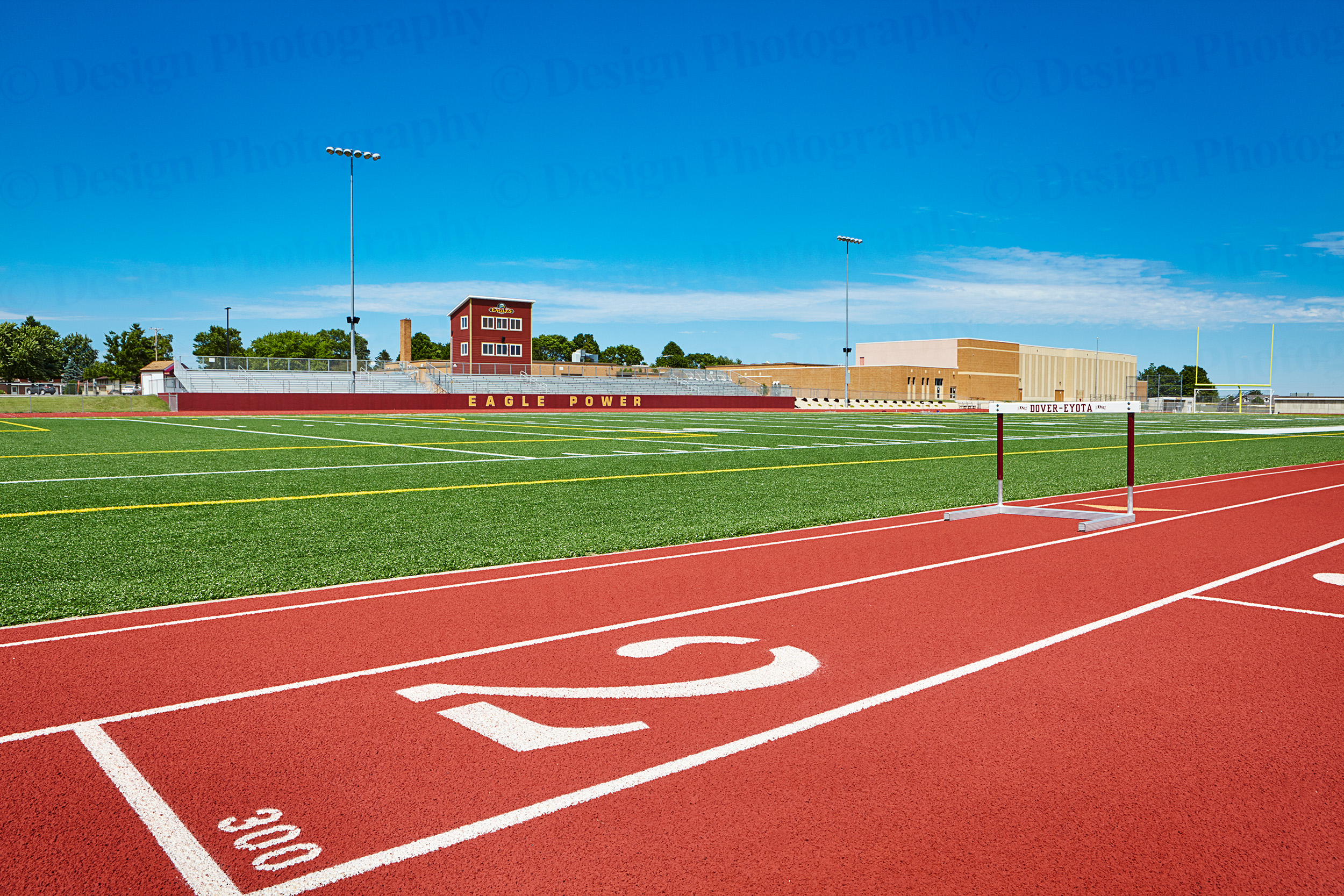 High school football field and track