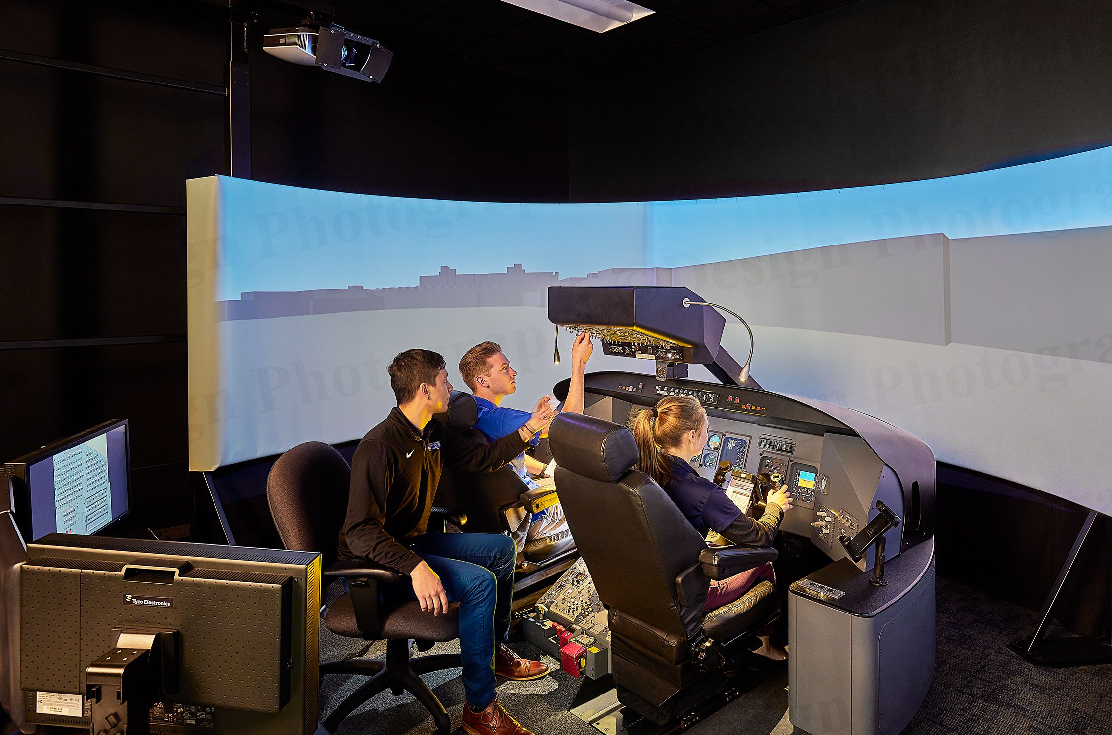 Students on a simulator at the University of Dubuque