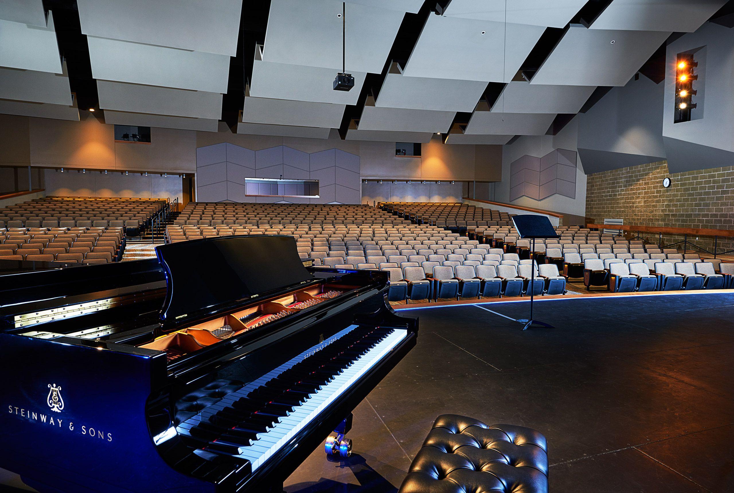 Interior architectural photograph University of Dubuque auditorium
