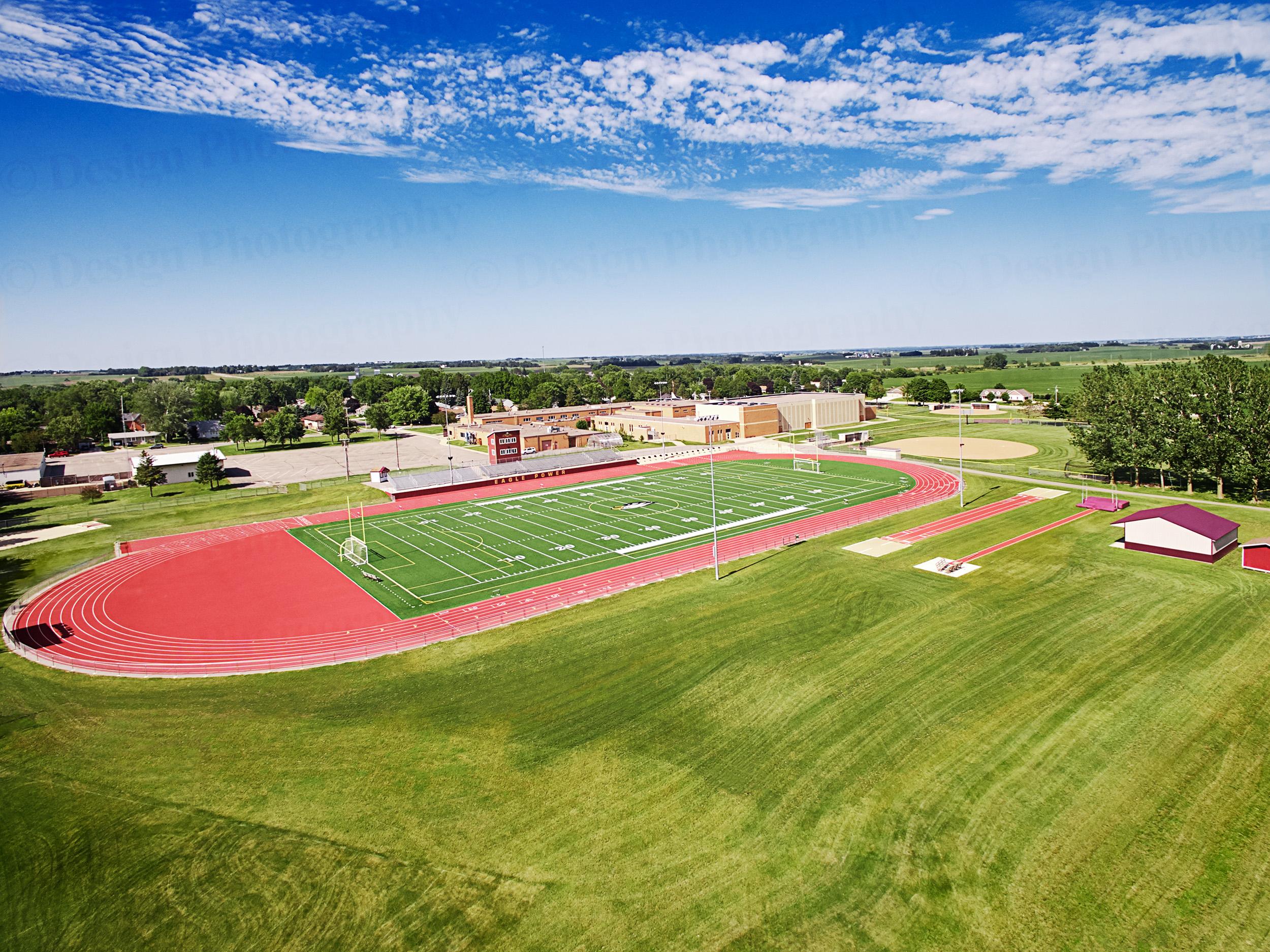 Aerial photograph of high school football field