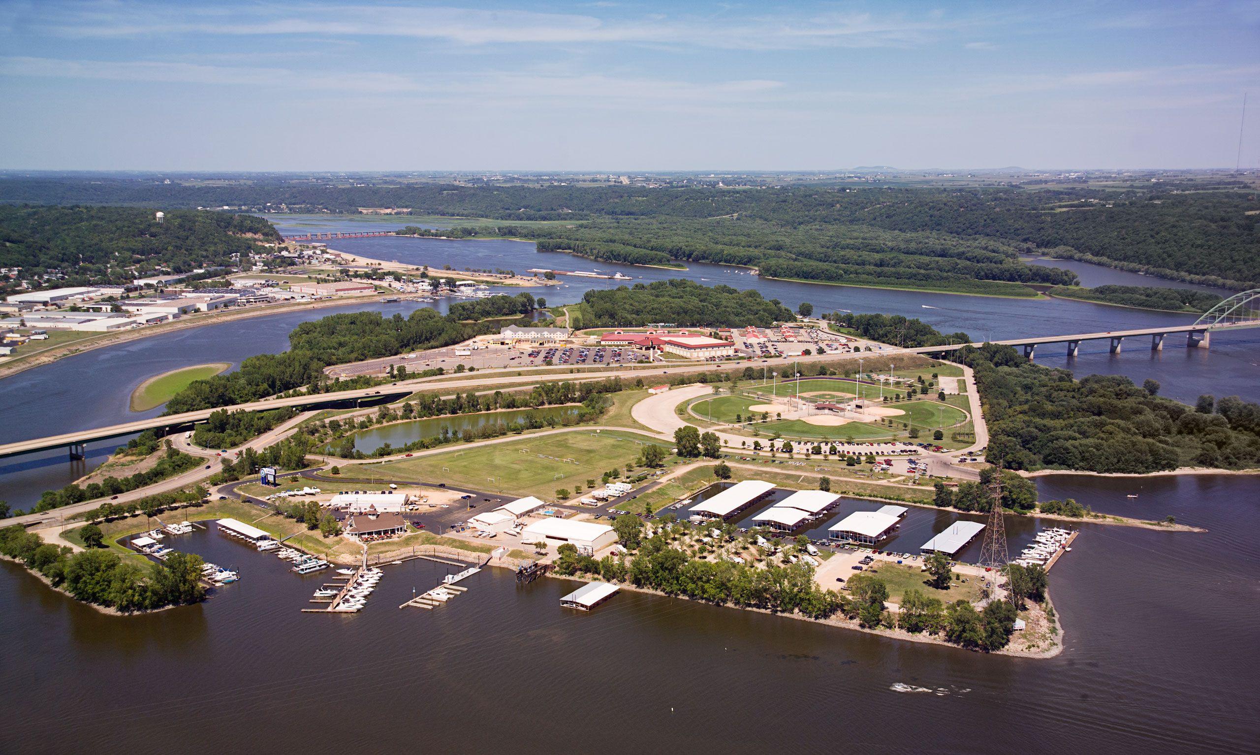 Aerial photograph of City Island & bridge into Wisconsin, Dubuque, Iowa