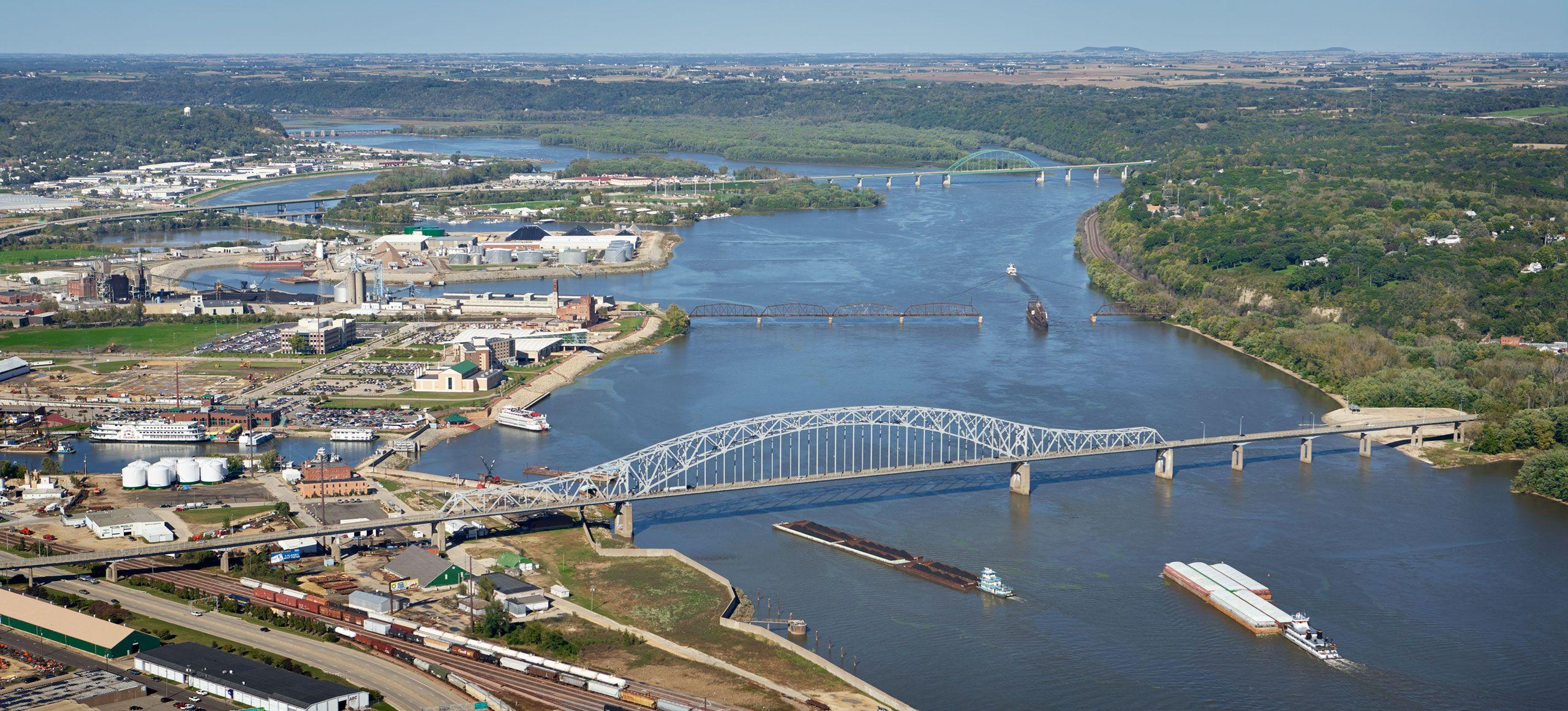 Aerial photograph of Dubuque, Iowa bridges