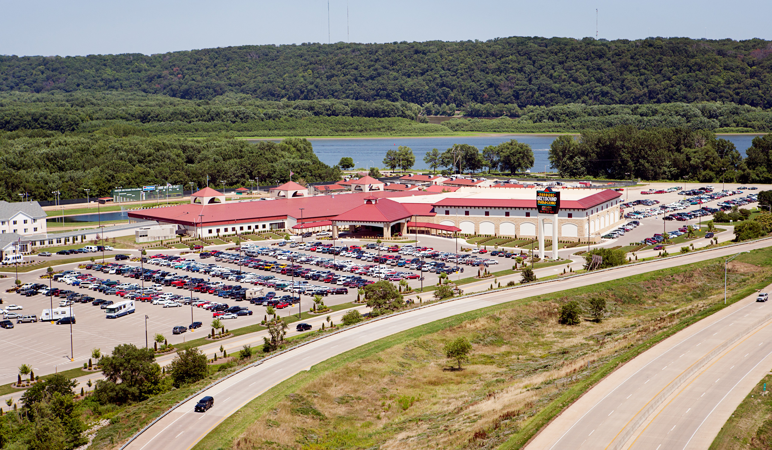 Aerial of Casino on City Island Dubuque, Iowa