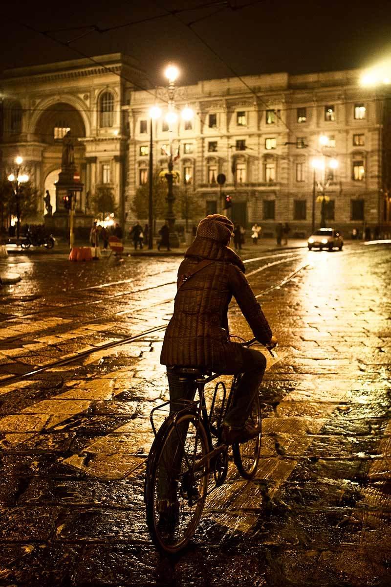 Rainy night, Milan, Italy.