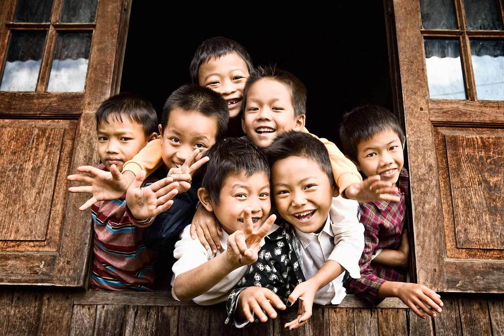 School kids, Lake Inle, Myanmar.