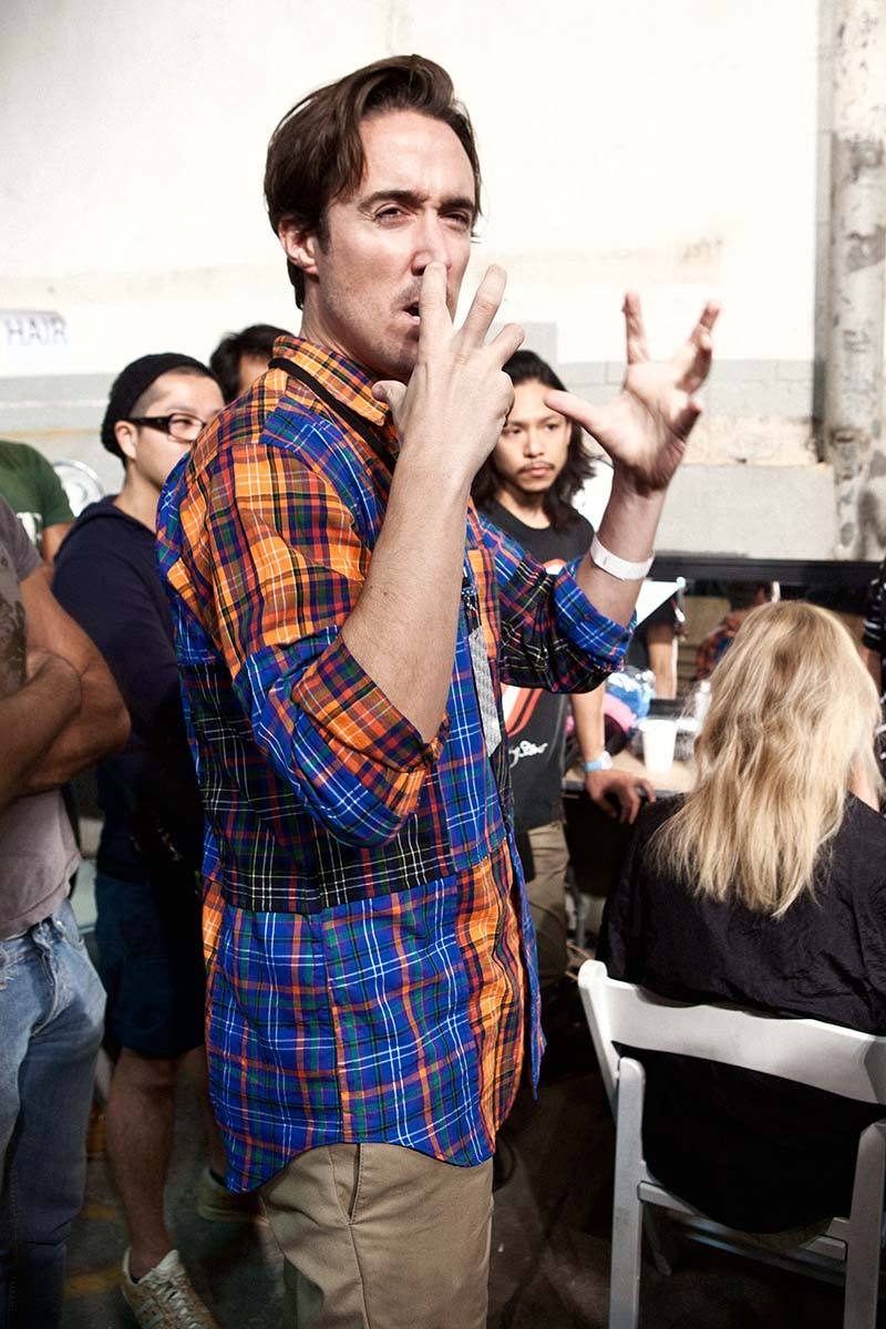 Hair stylist Paul Hanlon givin instructions to the hair team at the Proenza Schouler fashion show.