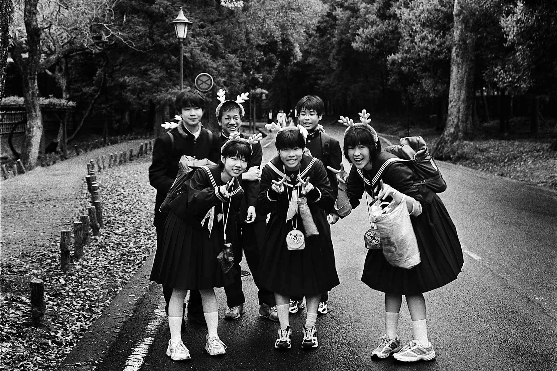 Japanese children on a school trip, Nara.