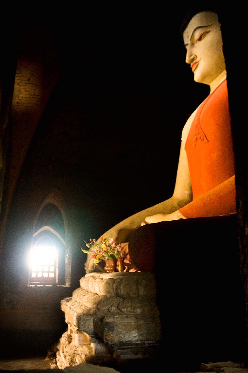 Buddha inside stupa, Bagan, Myanmar.