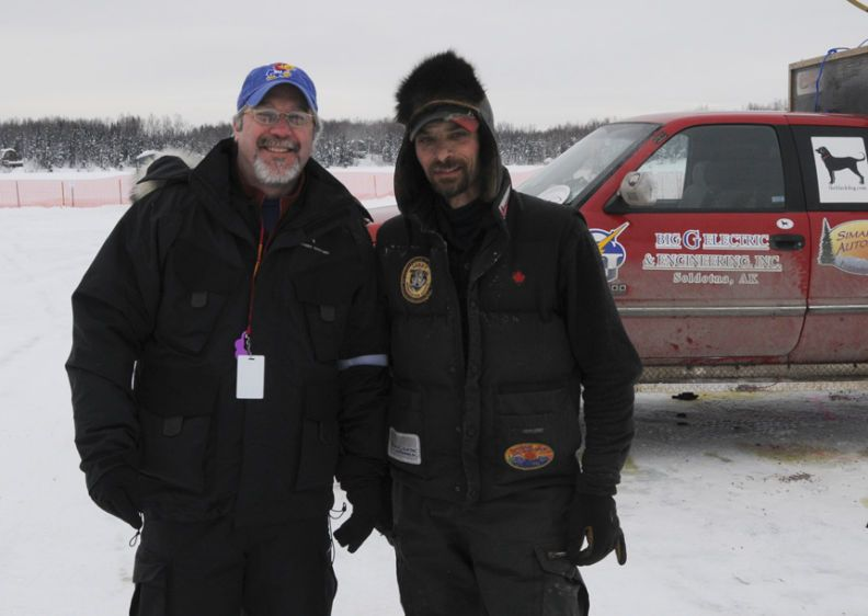 Me with Lance Mackey before the start in Willow, Alaska at this years Iditarod....he won!!!